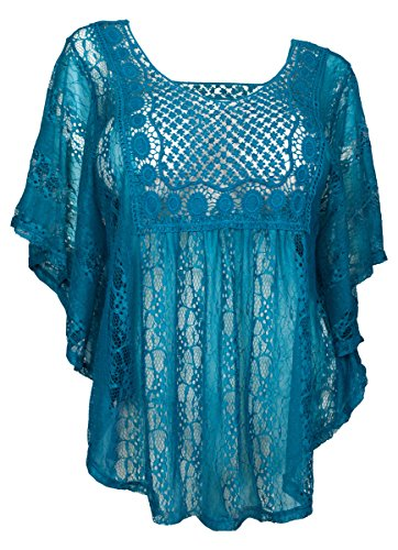 eVogues Plus Size Sheer Crochet Lace Poncho Top Teal - 3X (Plus Size Poncho)