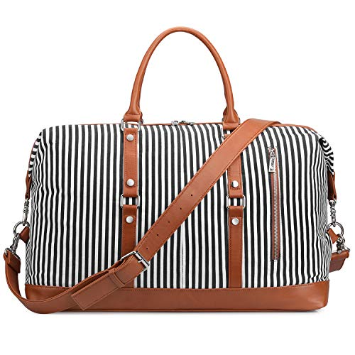 (S-ZONE OversizedCanvas PU Leather Trim Travel Duffel Bag Weekender Bag for Women and Ladies (Black))