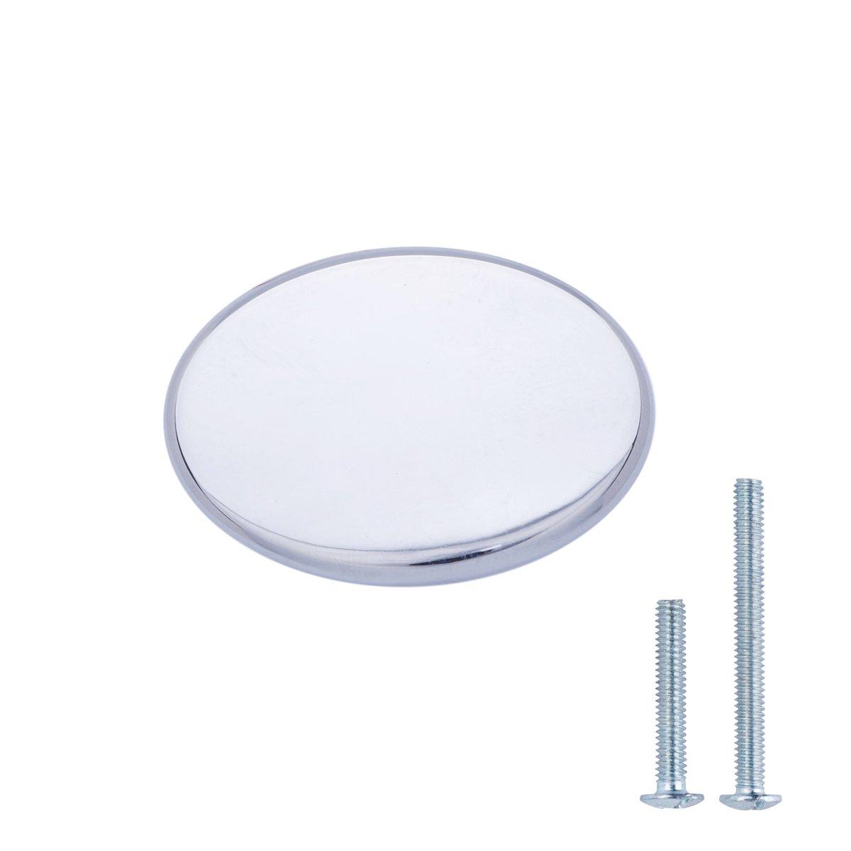 AmazonBasics - Pomolo tondo piatto per mobili, Diametro: 3,66 cm, Nichel satinato, confezione da 10 AB1400-SN-10