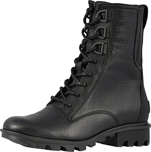 Sorel Womens Phoenix Lace Black Boot - 7.5 (Leather Lined Boots Combat)