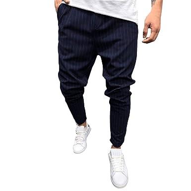 2615778a92487 Pantalones Largo Hombre Chandal Moda Pantalones de chándal de los Hombres  Pantalones de Bolsillo Sueltos a Rayas sólidos Ocasionales Pantalones  Jogger  ...
