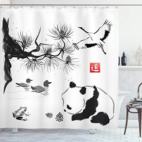 "Ambesonne Asian Shower Curtain, Bird Cedar Panda Bear Traditional Japanese Painting Style Art Hieroglyph Way, Cloth Fabric Bathroom Decor Set with Hooks, 70"" Long, White Grey"