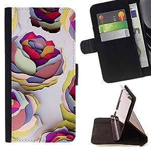WALLPAPER ART PAINT COLORFUL ROSES/ Personalizada del estilo del dise???¡Ào de la PU Caso de encargo del cuero del tir????n del soporte d - Cao - For Samsung Galaxy S6 EDGE
