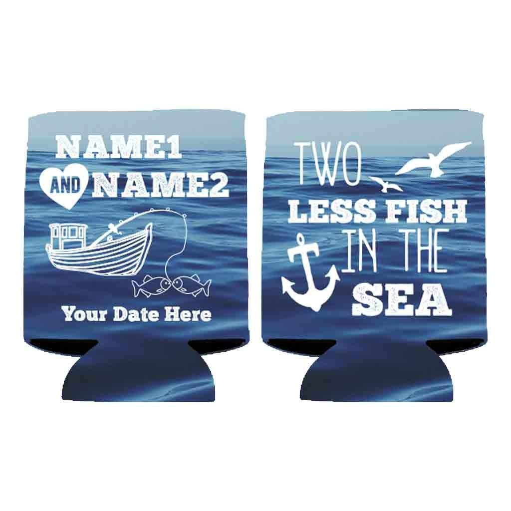 VictoryStore Can and Beverage Coolers: Neoprene Customizable ''Two Less Fish In The Sea'' Nautical Wedding Can Coolers - 100pc by VictoryStore