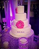 """14"""" Acrylic Crystal Crystal Cake Stand with Hanging Crystals LED for Wedding, Birthday, Anniversary or Special Occasion"""