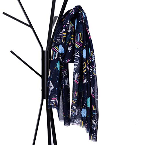 TongLing Scarf Large Format Sequins Balinese Yarn Pumping Scarf Feather Print Elegant Big Size Shawl Women's Oriented Trend (Color : Navy)