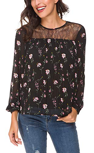 ACONIYA Womens Long Sleeve Solid/Floral Print Lace Patchwork Blouses Pleated Chiffon Casual Shirt Elegant Bow Tie Tunic Tops (Pink Floral, L)