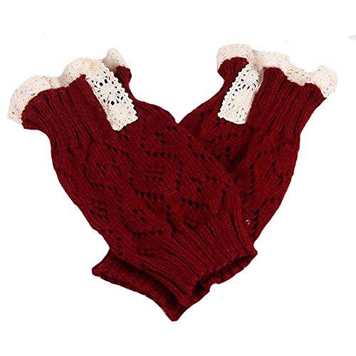 Women Lace Crochet Knitted Stocking Leg Plush Cover Trim Socks ()