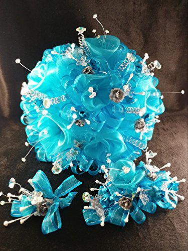 15th Quinceañera Princess Turquoise & White Flower Bouquet Set And Corsage, Ramo Para Quinceañera. 15 (Quinceanera Set)