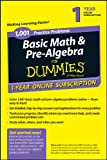 1,001 Basic Math and Pre-Algebra Practice Problems for Dummies, 1 Year Online Subscription, Zegarelli, 1118843835