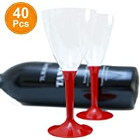40 x Copas de vino desechable de plástico