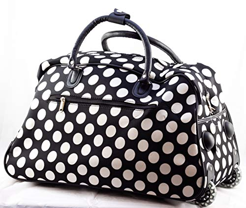 (Uni Collections 21-Inch Wheeled Duffle Bag (Big Polka Dots B/W) )