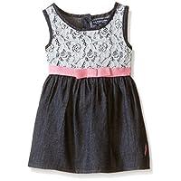 U.S. Polo Assn. Baby Girls' Denim Sundress with Lace Crochet Overlay, Dark Wa...