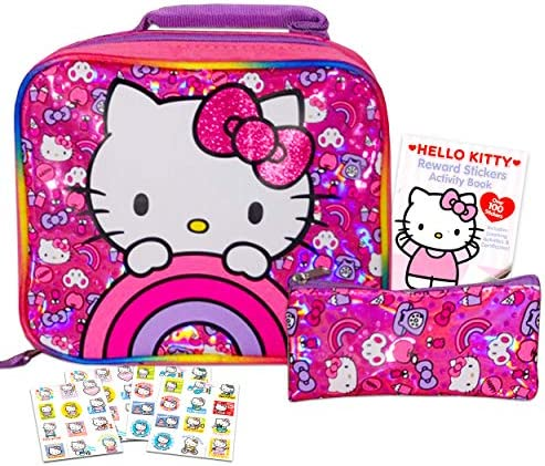 Hello Kitty Lunch Bag for Girls Kids Bundle  Premium Insulated Hello Kitty Lunch BoxAccessory Case and Bonus Stickers (Hello Kitty School Supplies)
