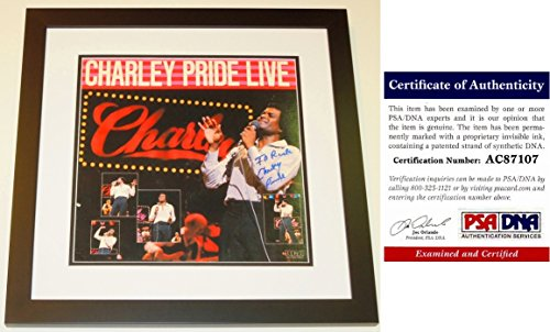 Charley Pride Signed - Autographed Album Cover with PSA/DNA Certificate of Authenticity (COA) BLACK CUSTOM FRAME with LP Vinyl Record Album