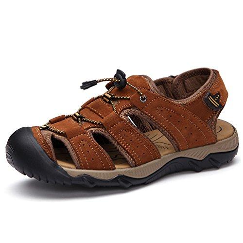 Sunrolan Jonas Hommes Lether Sports Pêcheur Sandales Sentier Deau En Plein  Air Chaussures De Marche Sandales