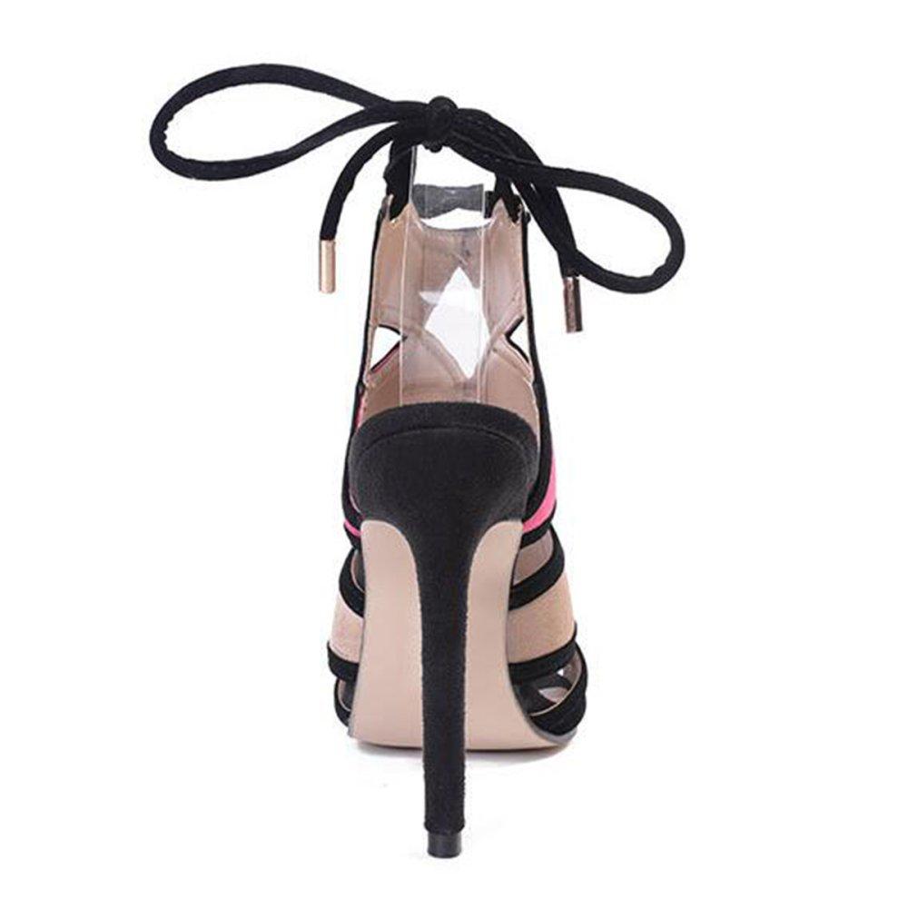 Ladies Strappy Sandalo Tacco Alto Alto Alto Scarpe Peep Toe Party Estate Sexy Slender Scarpe Romane Lace Night Club fd1329