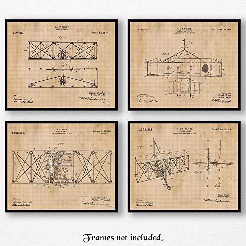 Original Wright Brothers Flying Machine Patent Art Poster Print- Set of 4 (Four 8x10) Unframed Vintage Picture- Great Wall Art Decor Gift for Home, Office, Garage, Man Cave, School, Student, ()