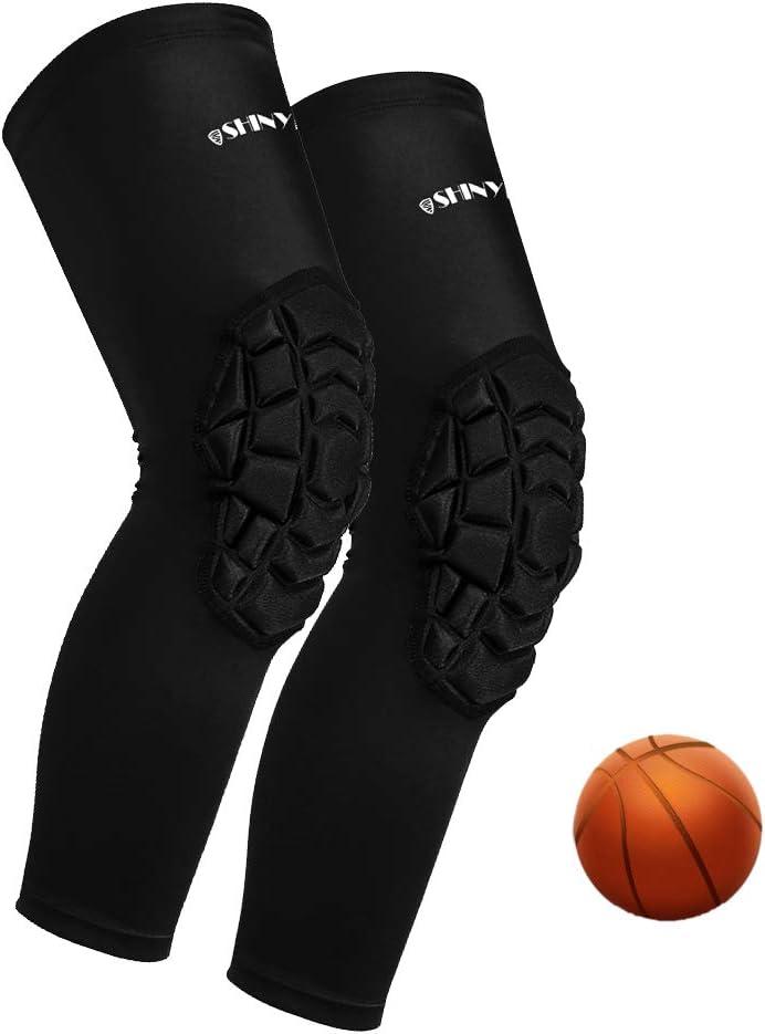 Basketball Knee Pads:ShinyPro 3D Honeycomb Shock Absorption EVA Pads, for Basketball Softball Baseball Football Volleyball, Kids Youth Girls Boys Women Men, 1 Pair : Sports & Outdoors