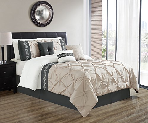 7 Pieces QUEEN size LIGHT GREY / GREY / WHITE Double-Needle Stitch Pinch Pleat All-Season Bedding-Goose Down Alternative Embroidered Comforter Set -