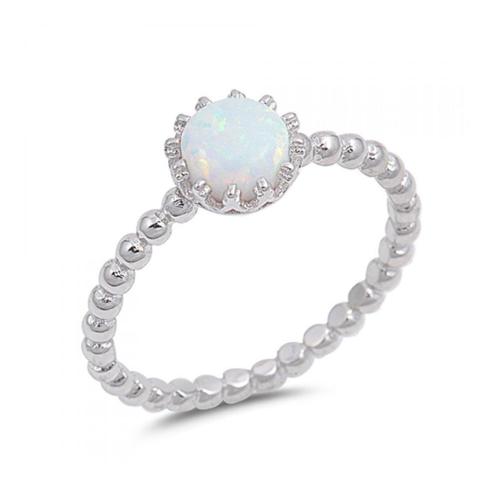 925 Sterling Silver Lab opal Gem Ring Glitzs 9375