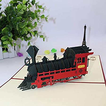 HNBGY Encanto 3D Stereo Lovely Steam Train Tarjetas de ...