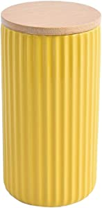 KVV Ceramic Kitchen Canister Food Storage Jars with Bamboo Lid - 40 OZ (1200 ML) Stripe for Antiskid, Utensil Crock Holder for Sugar, Tea, Spices, Coffee Container, 4 x 4 x 7.6 inches (Yellow)