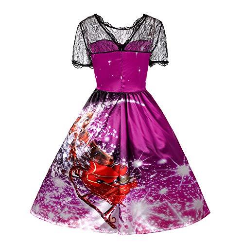 Robe Soirée Femmes Mrulic Noel longue Imprimé Dames Violet4 Fleur Manche Fete Party Elegant Mi Swing Dentelle Courte De Noël Genou Sdqqxr8