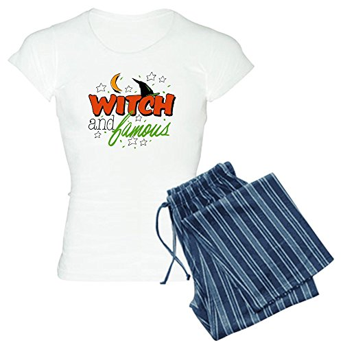[Royal Lion Women's Light Pajamas Halloween Witch and Famous Hat - Blue Stripe, Large] (Witch Wig Stripes)