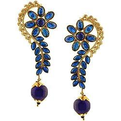 Efulgenz - Juego de arete de gota con perlas de vidrio Kundan chapados en oro de 14 quilates y hojas florales indias Azul