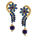 Efulgenz Indian Bollywood 14K Gold Plated Crystal Kundan Pearl Floral Leaf Dangle Drop Earrings Jewelry Set