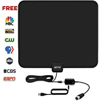 Skytv 50-Mile Range Indoor Amplified Digital TV Antenna with Detachable Amplifier Signal Booster (Black)