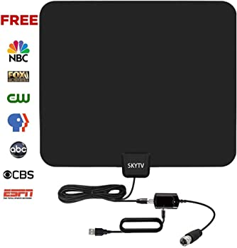 Skytv 50-Mile Range Indoor Amplified Digital TV Antenna