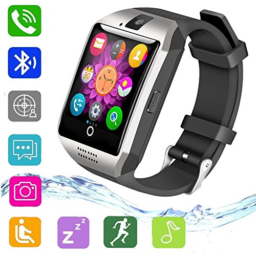 uwinmo Bluetooth Smart Watch,Touch Screen Smart Wrist Watch for Android Samsung iPhone with Camera SIM Card Slot, Q18 Smartwatch for Kids Men Women(Silver)