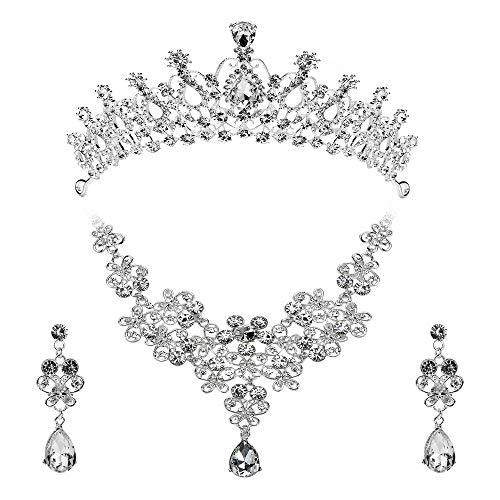 (Febou Bridal Jewelry Set Crystal Rhinestone Hair Accessories Tiara Crown Necklace Earrings for Bride Women Wedding Prom Party (a))