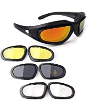 Bernard Bertha Motorcycle Riding Glasses Goggle Kit, Padded Glasses Frame with 4 Lens Kit for Outdoor Activity Sport