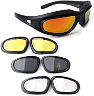 Bernard Bertha Motorcycle Riding Glasses Goggle Kit, Padded Glasses Frame with 4 Lens Kit for Outdoor Activity