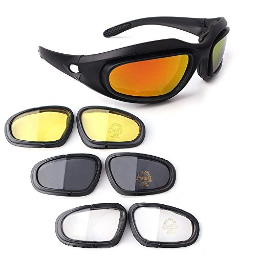 Bernard Bertha Polarized Motorcycle Riding Glasses Goggle Kit, Padded Glasses Frame with 4 Lens Kit for Outdoor Activity Sport