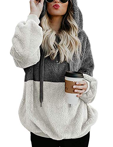 Womens Sweatshirt Faux Fleece Pullover Hoodies Winter Coat Tops Outwear Dark Gray M -