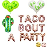 16'' Rose Gold Foil Balloon Taco Bout A Party Cactus Balloons Engagement Bachelorette Birthday Taco Shower Fiesta Party Theme Baby Shower Pregnancy Announcement Ideas Mexican Fiesta Theme Supplies