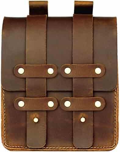 LXFF Mens Genuine Leather Fanny Pack Waist Bag Belt Pouch Bum Bags for Men Vintage