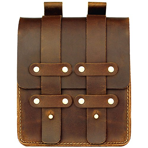 LXFF Mens Genuine Leather Belt Pouch Fanny Pack Waist Bag Bum Bags for Men Vintage Brown Large ()