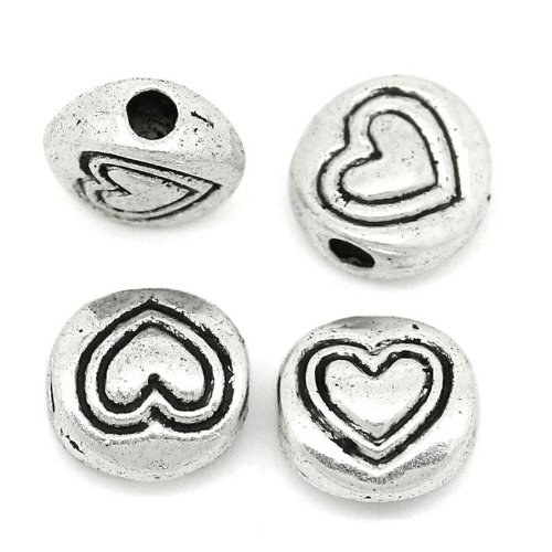 100pc Antiqued Silver Heart Pattern Spacer Beads 6mm Beading Supplies ()
