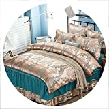 retro store Satin Satin Jacquard Four-Piece Bed Skirt Bed Cover Four Sets Bedding Set Luxury Full Size Bed Set,16,1.8m Bed,Flat Bed Sheet