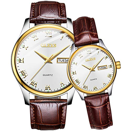 Couples Watches for Him and Her Watches for Men Watches for Women Waterproof Black/White dial Brown Watch Belt Classic Business Quartz Watch Set Gift with ()