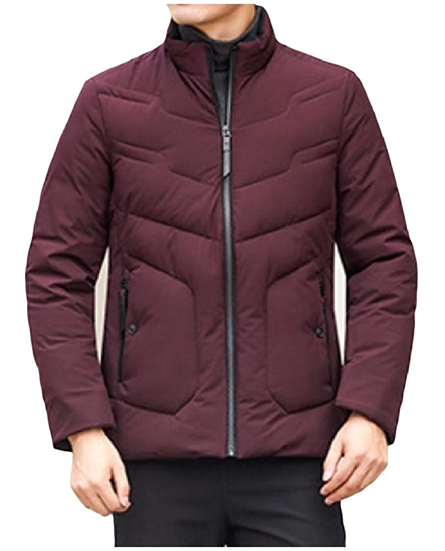DressU Mens Stand Collar Zipper Winter Warm Short Puffer Down Outwear Jackets