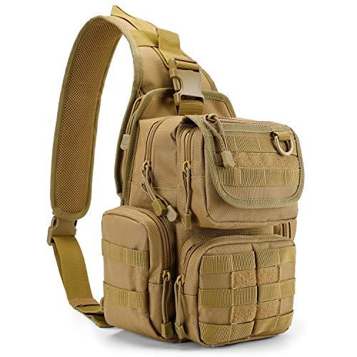 G4Free Tactical Sling Bag Pack with Pistol Holster, Military Shoulder Bag Satchel, Range Bag Daypack Backpack (Tan)