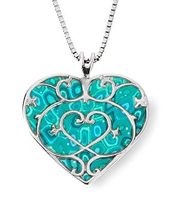 7227d2857bd10 925 Sterling Silver Heart Pendant Fleur de Lis Necklace Handmade Polymer  Clay Jewelry, 16.5