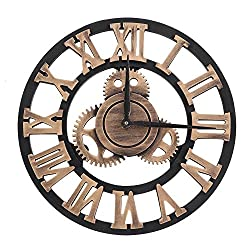 Huhushop 3D Vintage Wall Clock,Rustic Handmade Wall Clock Large Gear Wooden Vintage Decor for Living Room Office Restaurant (80cm-Gold)