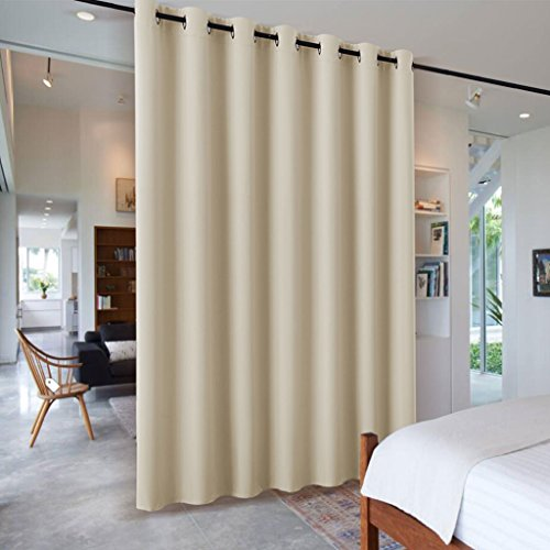 Heavy Duty Wall Divider Partition - RYB HOME Noise Reduction Privacy Protection Grommet Top Patio Door Curtain Panel for Living Room / Locker Room, 7 ft Tall x 8.3 ft Wide, Cream Beige, 1 Pack